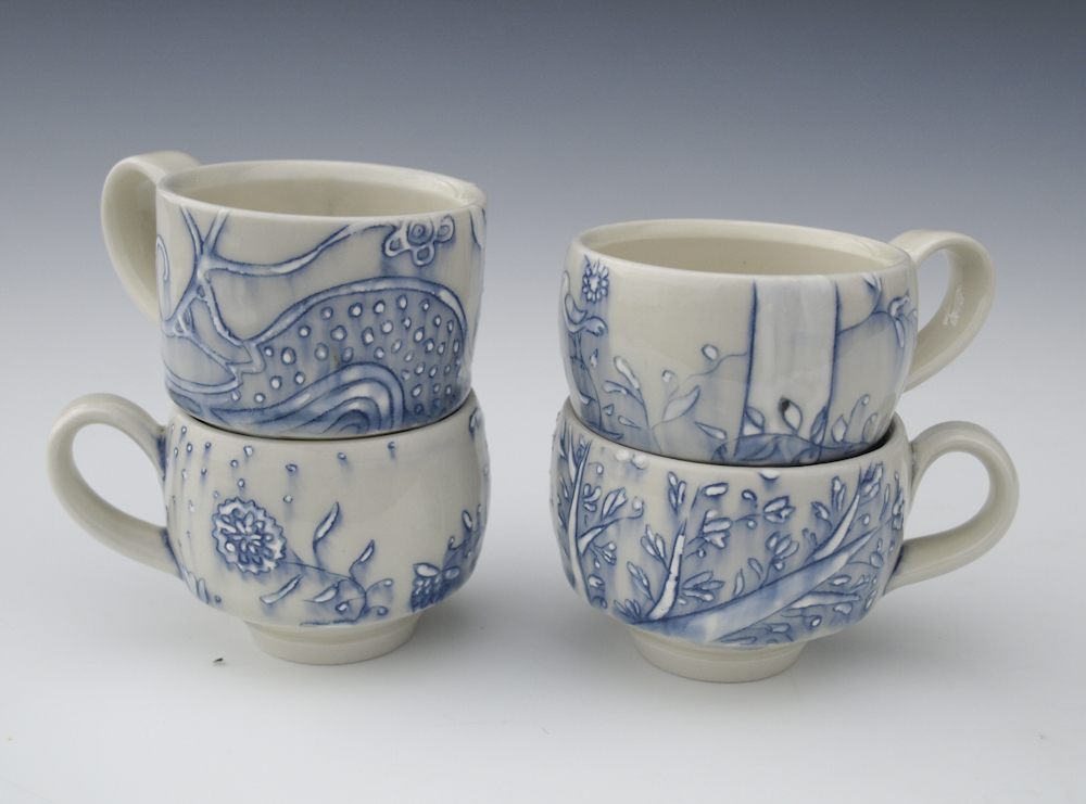 blue lines tree cups